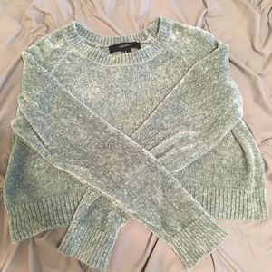 Chenille Lime Green Cropped Sweater